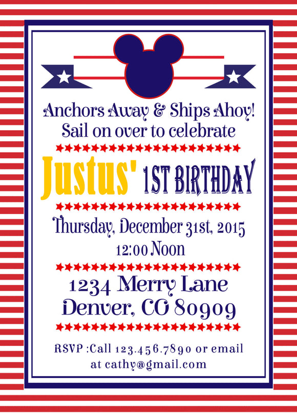 MICKEY MOUSE NAUTICAL - BIRTHDAY INVITATION - JPG/PDF ONLY