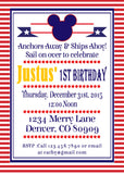 MICKEY MOUSE NAUTICAL - PRINTABLE BIRTHDAY INVITATION - FREE MATCHING THANK YOU