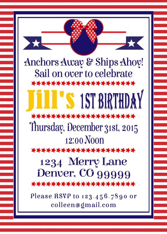MINNIE MOUSE NAUTICAL - BIRTHDAY PRINTABLE INVITATION - FREE MATCHING THANK YOU