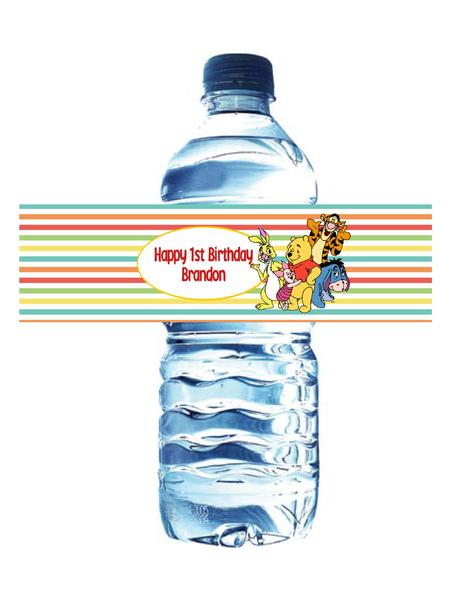 WINNIE THE POOH AND FRIENDS - WATERPROOF WATER BOTTLE LABEL