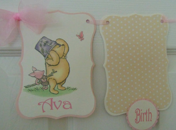 WINNIE THE POOH AND PIGLET 12 MONTH PHOTO BANNER