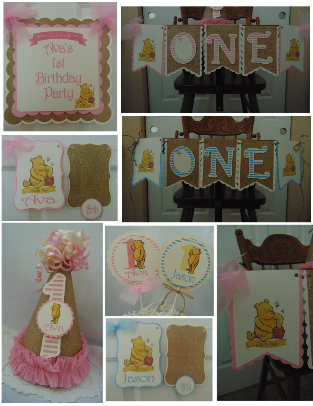 WINNIE THE POOH CLASSIC - PETITE - 1ST BIRTHDAY PARTY PACKAGE