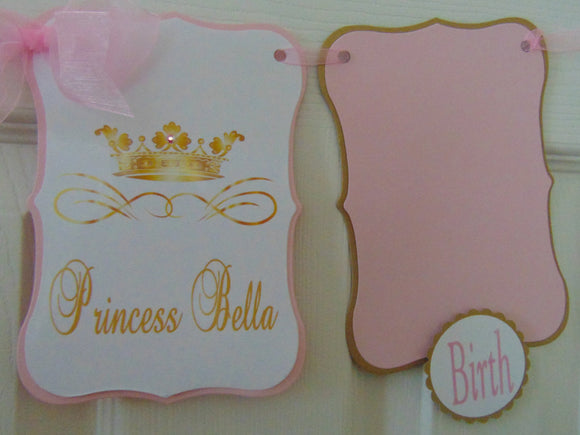 PRINCESS BIRTHDAY PINK & GOLD 12BMONTH PHOTO BANNER