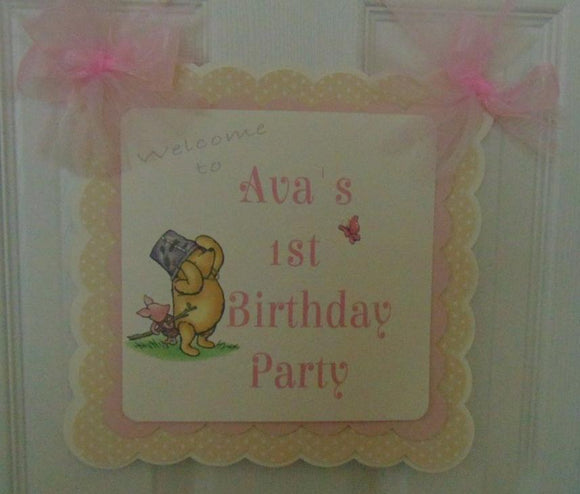 WINNIE THE POOH AND PIGLET - WELCOME DOOR BANNER