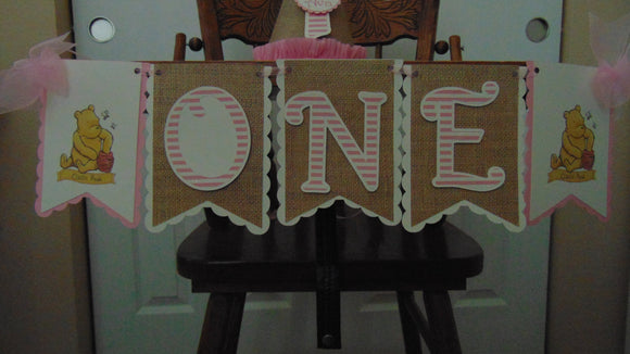 WINNIE THE POOH CLASSIC PINK - ONE HIGH CHAIR BANNER
