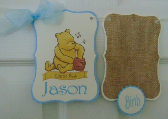 WINNIE THE POOH CLASSIC BLUE - 12 MONTH PHOTO BANNER