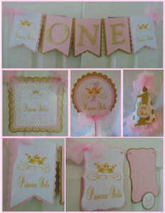 PRINCESS BIRTHDAY PINK & GOLD - 1ST BIRTHDAY PARTY PACKAGE