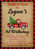 LITTLE RED TRUCK WITH CHRISTMAS TREE - HAPPY BIRTHDAY INVITATION 1ST BIRTHDAY