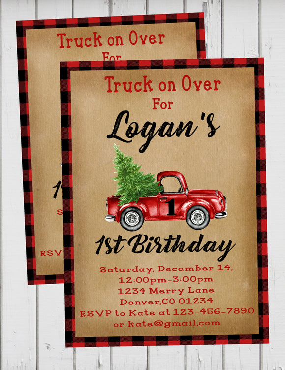 LITTLE RED TRUCK WITH CHRISTMAS TREE - PRINTABLE HAPPY 1ST BIRTHDAY INVITATION - FREE MATCHING THANK YOU
