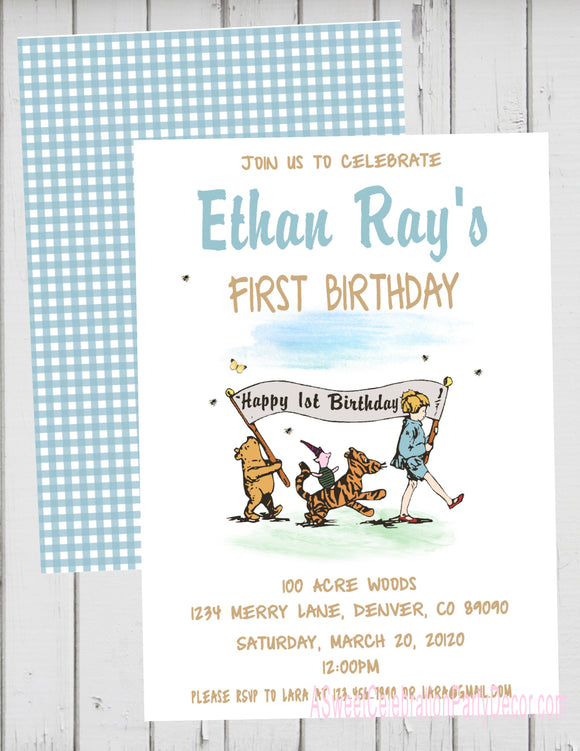 CLASSIC WINNIE THE POOH PARADE BLUE - PRINTABLE BIRTHDAY INVITATION - FREE MATCHING THANK YOU
