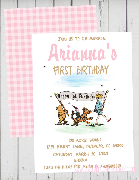CLASSIC WINNIE THE POOH PARADE PINK - PRINTABLE BIRTHDAY INVITATION - FREE MATCHING THANK YOU