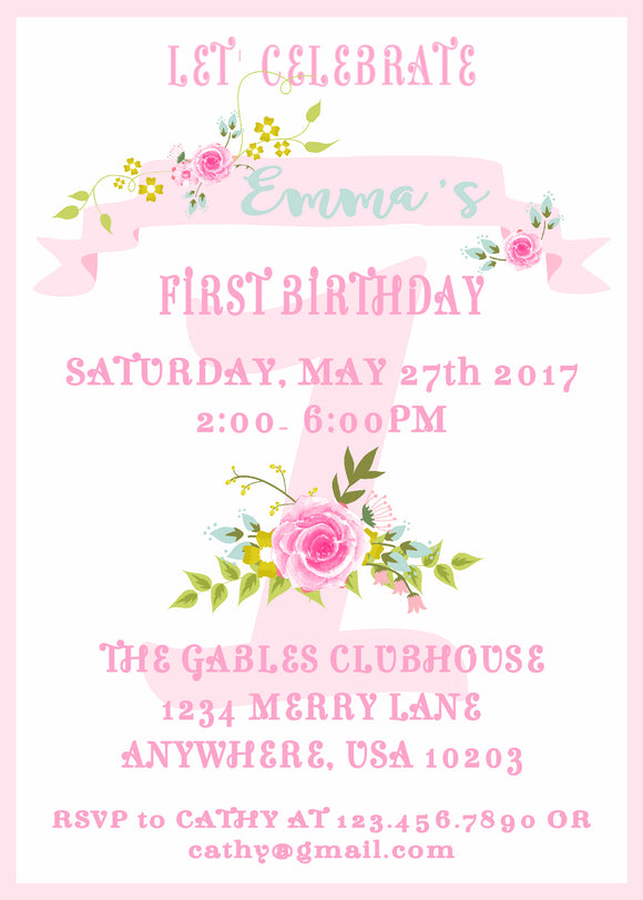 FLORAL SHABBY CHIC - BIRTHDAY PRINTABLE  INVITATION - FREE MATCHING THANK YOU