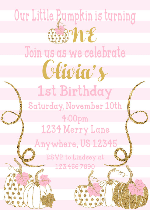 PUMPKIN PINK AND GOLD - BIRTHDAY INVITATION