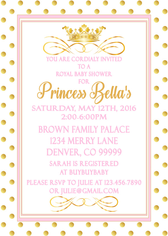 PRINCESS - BABY SHOWER PRINTABLE INVITATIONS - FREE MATCHING THANK YOU