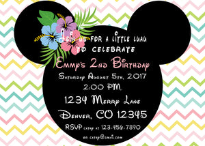 MINNIE MOUSE LUAU PASTEL - BIRTHDAY PRINTABLE INVITATIONS - FREE MATCHING THANK YOU