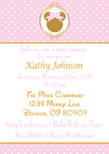 MINNIE MOUSE PINK & GOLD BABY SHOWER INVITATIONS