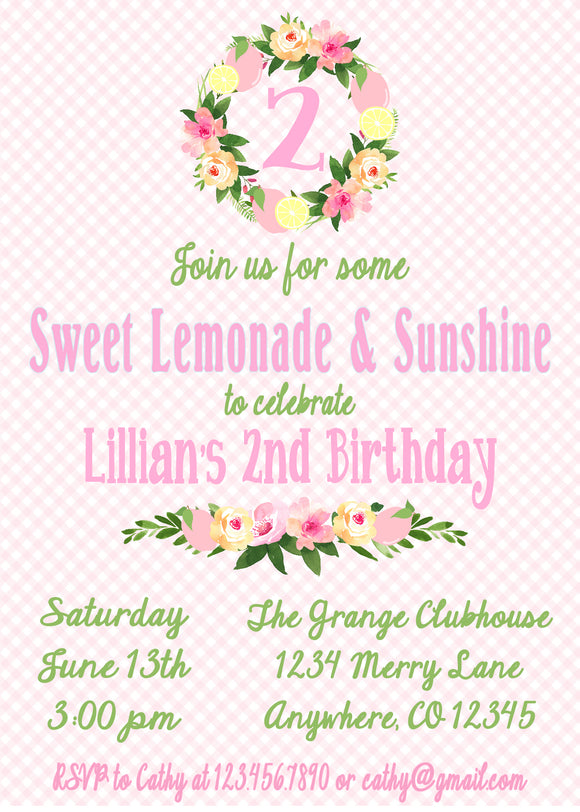 PINK LEMONADE - PRINTABLE BIRTHDAY INVITATION - FREE MATCHING THANK YOU