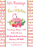 FLAMINGO PINK AND GOLD - BIRTHDAY - PRINTABLE INVITATION - FREE MATCHING THANK YOU