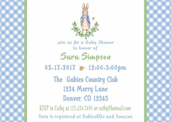 PETER RABBIT LAUREL BLUE - BABY SHOWER - PRINTABLE INVITATIONS - JPG/PDF - FREE MATCHING THANK YOU