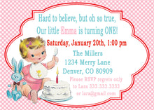 VINTAGE 1ST BIRTHDAY PINK - BIRTHDAY INVITATION
