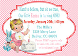 VINTAGE 1ST BIRTHDAY PINK - PRINTABLE BIRTHDAY INVITATION - FREE MATCHING THANK YOU