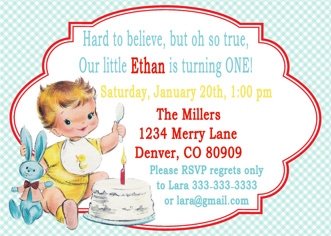VINTAGE 1ST BIRTHDAY BLUE - BIRTHDAY INVITATION