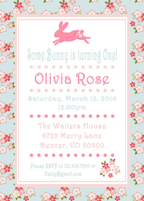 SHABBY CHIC BUNNY - BIRTHDAY INVITATION