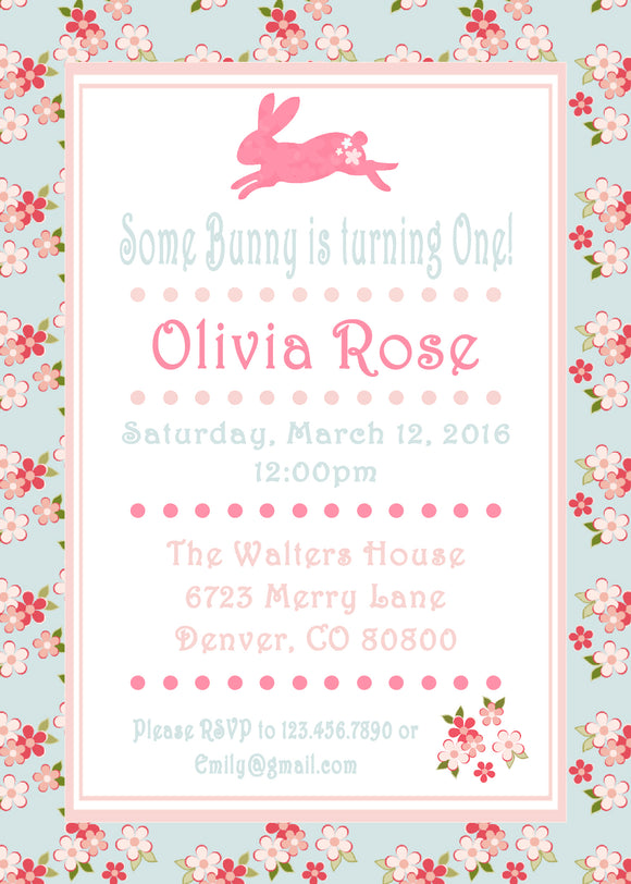 SHABBY CHIC BUNNY - PRINTABLE BIRTHDAY INVITATION - FREE MATCHING THANK YOU