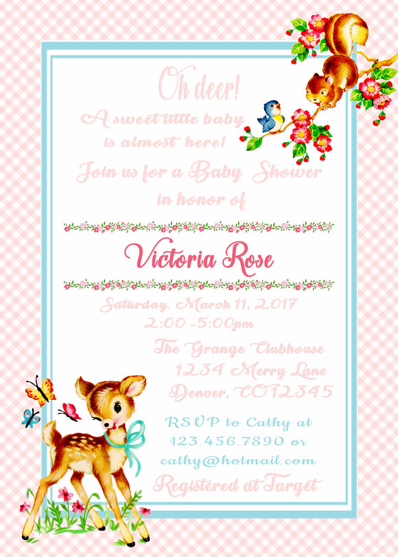 BAMBI - WOODLAND DEER - BABY SHOWER  INVITATION