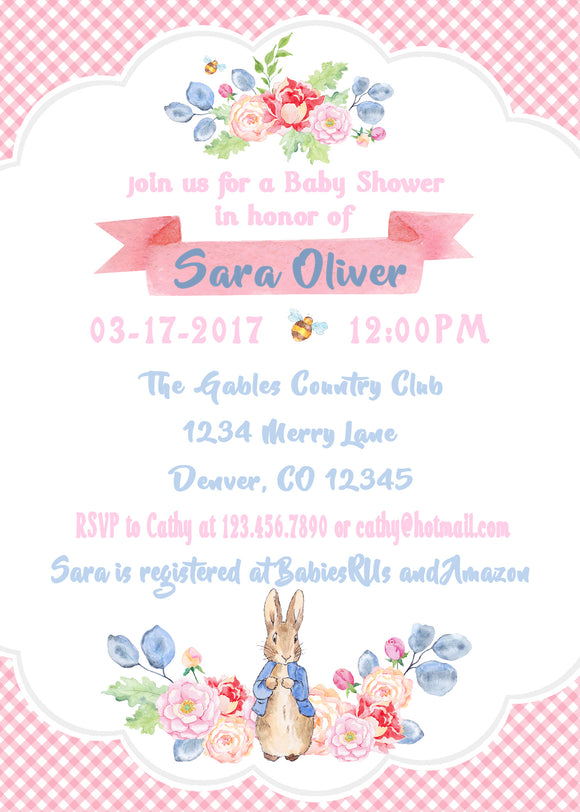 PETER RABBIT FLORAL - BABY SHOWER - PRINTABLE INVITATIONS - JPG/PDF - FREE MATCHING THANK YOU