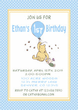 WINNIE THE POOH CLASSIC WITH BALLOON BLUE - BIRTHDAY INVITATION