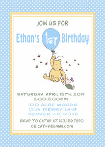 CLASSIC WINNIE THE POOH WITH BALLOON BLUE - PRINTABLE BIRTHDAY INVITATION FREE MATCHING THANK YOU