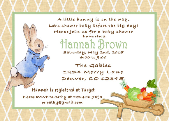 PETER RABBIT LINEN - BABY SHOWER - PRINTABLE INVITATIONS - FREE MATCHING THANK YOU - JPG/PDF