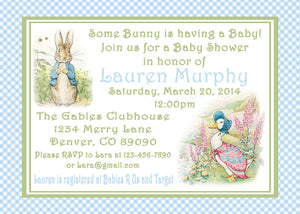 PETER RABBIT BLUE - BABY SHOWER - PRINTABLE INVITATIONS - FREE MATCHING THANK YOU - JPG/PDF