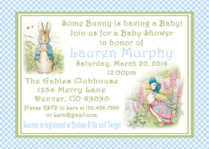 PETER RABBIT BLUE - BABY SHOWER INVITATIONS