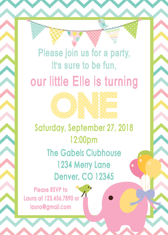 CIRCUS PINK ELEPHANT - BIRTHDAY - PRINTABLE INVITATION - FREE MATCHING THANK YOU