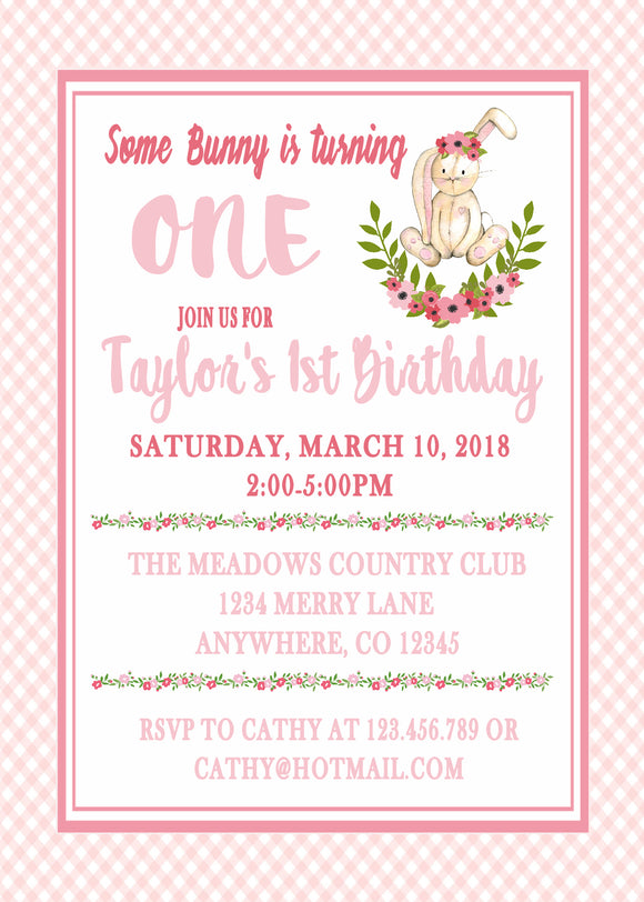 FLORAL BUNNY - BIRTHDAY INVITATIONS - FREE MATCHING THANK YOU