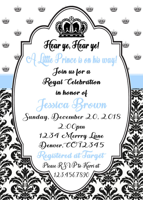 PRINCE - BABY SHOWER INVITATIONS