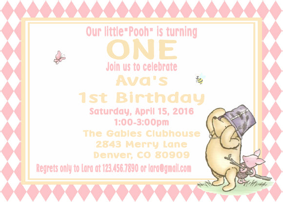 WINNIE THE POOH AND PIGLET PINK - BIRTHDAY INVITATION