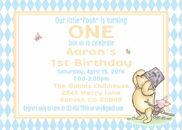 WINNIE THE POOH AND PIGLET BLUE - BIRTHDAY INVITATION