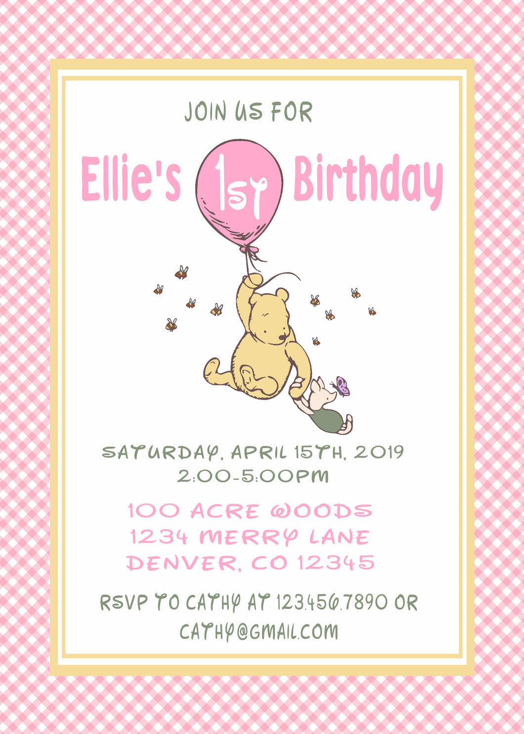 WINNIE THE POOH CLASSIC WITH BALLOON PINK - BIRTHDAY INVITATION