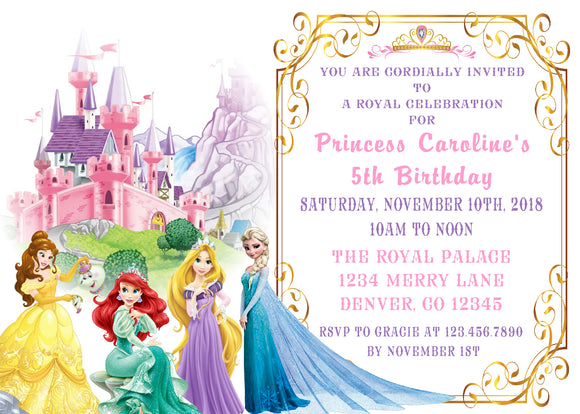 DISNEY PRINCESS - PRINTABLE BIRTHDAY INVITATION -FREE MATCHING THANK YOU