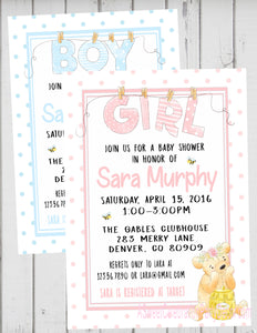 HONEY BEAR - BABY SHOWER - PRINTABLE INVITATION WITH FREE MATCHING THANK YOU