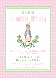 PETER RABBIT WATERCOLOR PINK - PRINTABLE BIRTHDAY INVITATION - FREE MATCHING THANK YOU