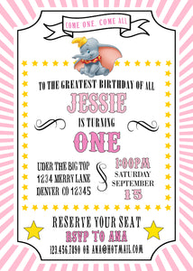 DUMBO - BIRTHDAY - PRINTABLE INVITATION - PINK - FREE MATCHING THANK YOU
