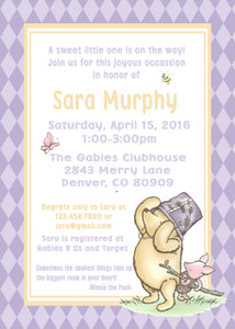 WINNIE THE POOH AND PIGLET LAVENDER - PRINTABLE  BABY SHOWER INVITATION - FREE MATCHING THANK YOU - JPG/ODF