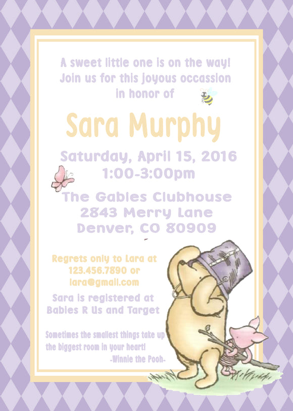 WINNIE THE POOH AND PIGLET LAVENDER - BABY SHOWER INVITATION
