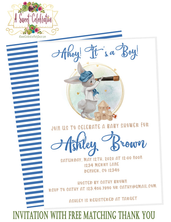 NAUTICAL LITTLE SAILOR - BABY SHOWER - INVITATION - DIGITAL DOWNLOAD- PRINTABLE - FREE MATCHING THANK YOU BUNNY SAILOR