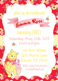 WINNIE THE POOH - FLORAL - PRINTABLE BIRTHDAY INVITATION WITH PHOTO - FREE MATCHING THANK YOU