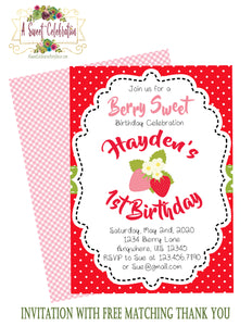 BERRY SWEET STRAWBERRY  - PRINTABLE BIRTHDAY INVITATION - FREE MATCHING THANK YOU